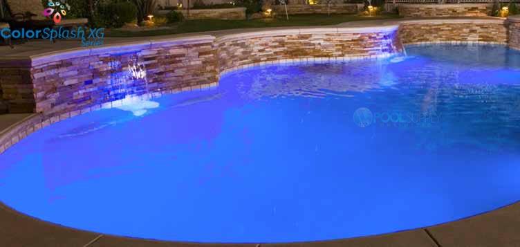 J&J Electronics ColorSplash XG Series Color LED Pool Light | 120V 30\' Cord  | LPL-F2C-120-30-P