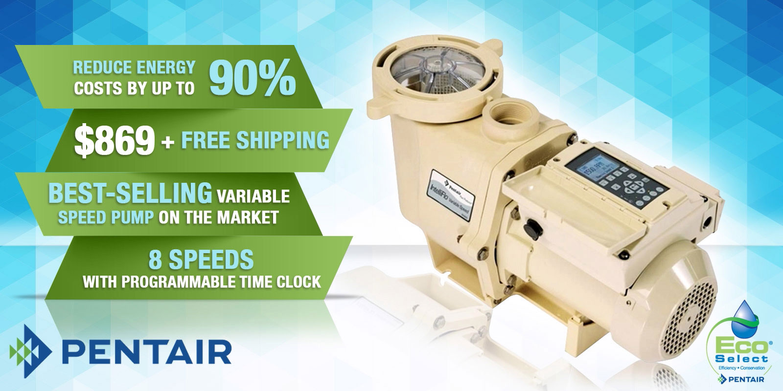 Pentair IntelliFlo Variable Speed Energy Efficient Pool Pump