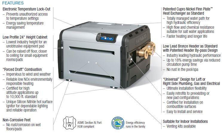 Hayward Universal H Series Pool Amp Spa Heater H250fdnasme