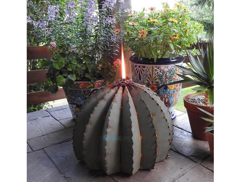 """Golden Barrel Cactus Metal Tiki Torch Large - 18""""W x 13""""H Desert Steel"""