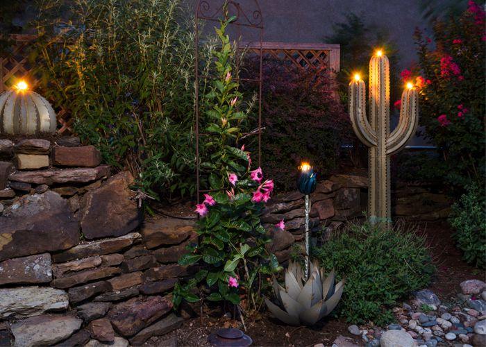 Desert Steel Saguaro Cactus With Garden Torch 5 Foot