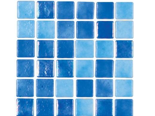 National Pool Tile Tribeca 1x1 Gl Light Blue Glossy Tri Ltblue