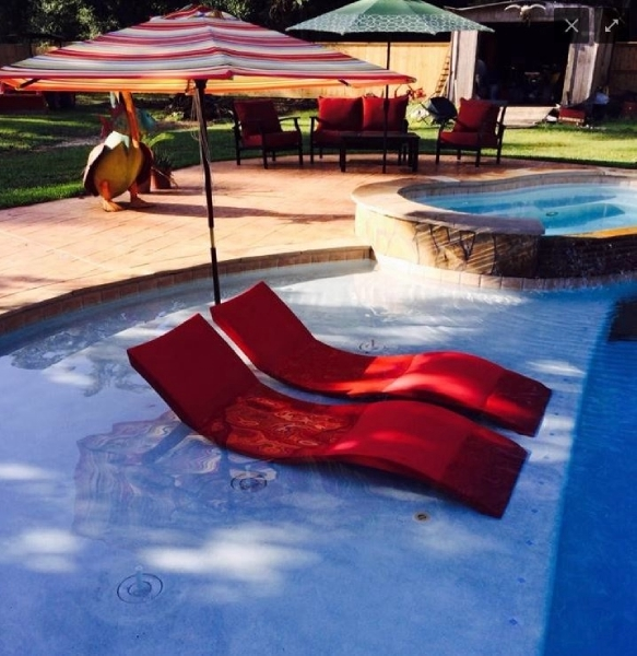 Ledge Lounger In Pool Chaise Red Pool Supply Unlimited
