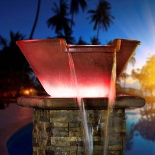 Aquacal Fire Fx Illuminated Spillover Water Bowl Copper