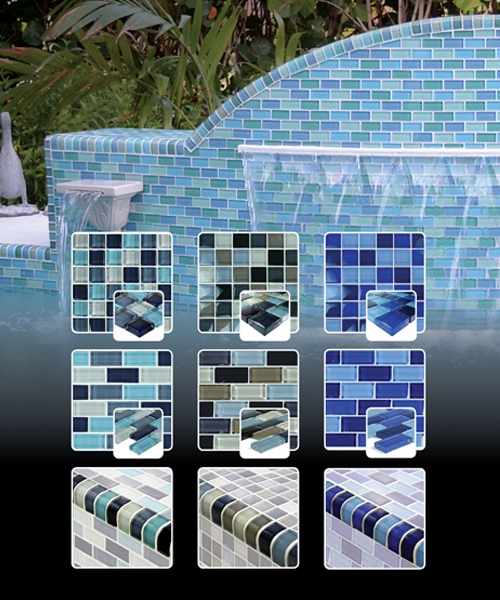 Turquoise Blue Glass Tile Blend 1 x 2