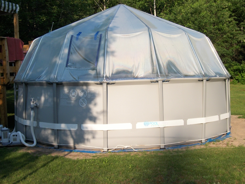 Fabrico sun dome all vinyl dome for soft sided above for Rectangle above ground pool hard sided