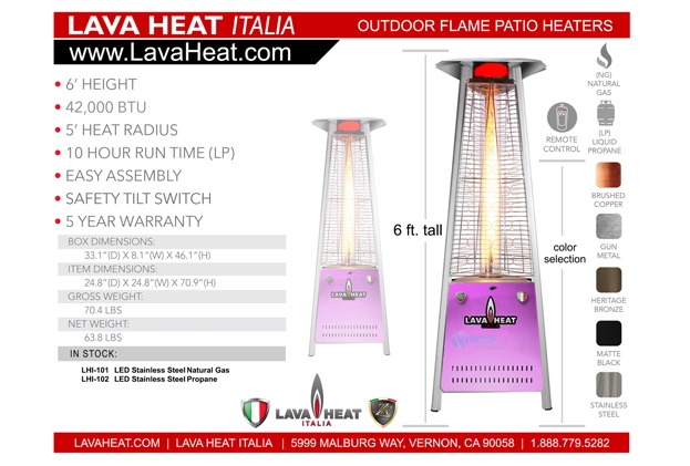 Lava Heat Italia Commercial Flame Patio Heater With Led