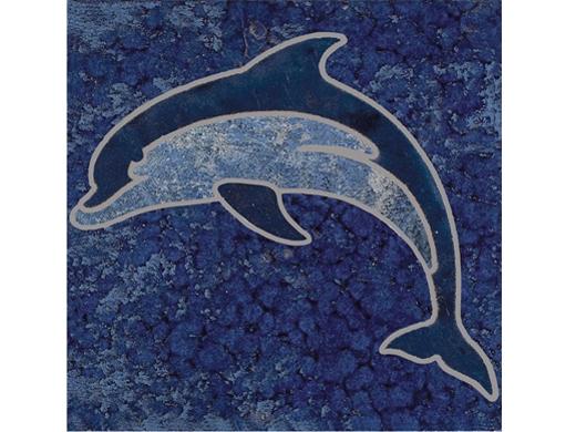 National Pool Tile Bermuda 6x6 Dolphin Deco Blue Cobalt