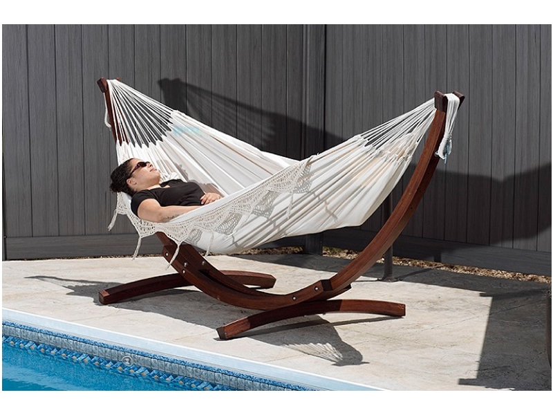 vivere double cotton hammock with solid pine arc stand 8ft natural  rh   poolsupplyunlimited