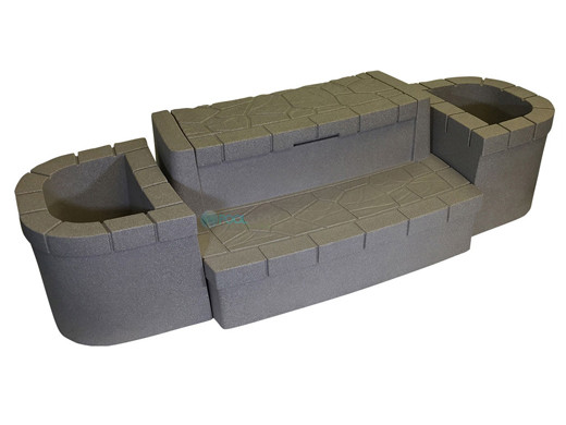 Dream Maker Spas Deluxe Storage Steps and Planters Set | Cobblestone on