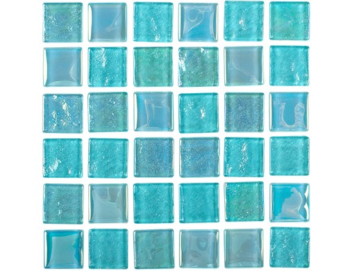 National Pool Tile Equinox 1x1 Glass Tile Icy Teal Eqx