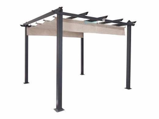 Coolaroo aurora aluminum pergola gazebo with retractable - Coolaroo exterior retractable window shades ...
