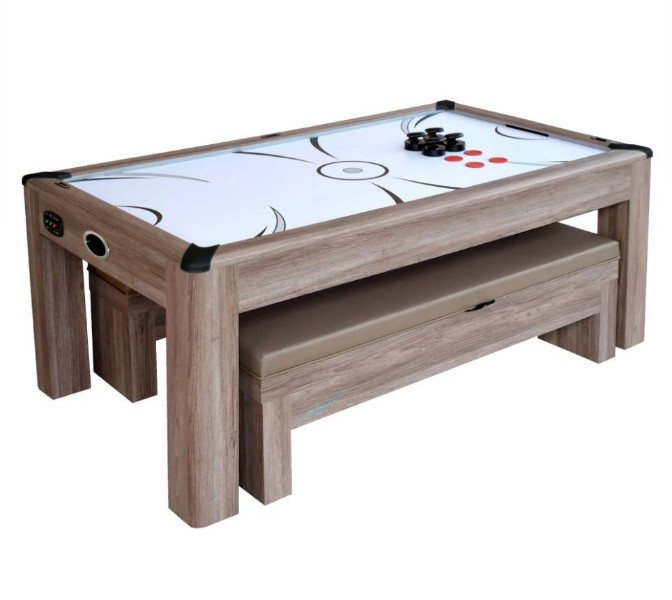 Hathaway Driftwood 7 Foot Air Hockey Table Tennis Combo Set With Benches Ng1137h Bg1137h