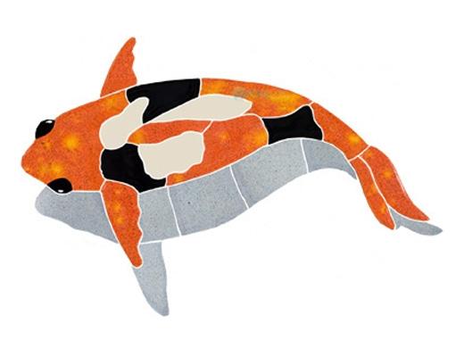 Artistry In Mosaics Koi Fish With Shadow Mosaic Orange 6 X 11 Kfss