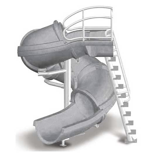 SR Smith Vortex Pool Slide | Ladder & Closed Flume | Gray Granite | 695-209-224