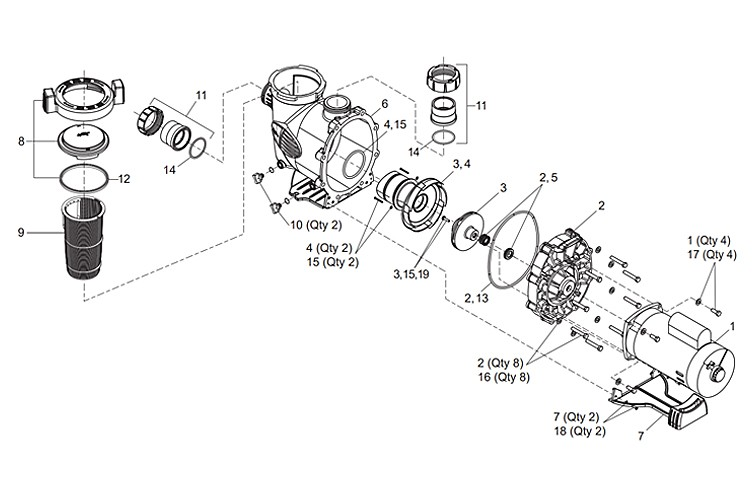 Jandy MaxHP Uprated Pump | 1.0HP 115V/230V | MHPM1.0 Parts Schematic