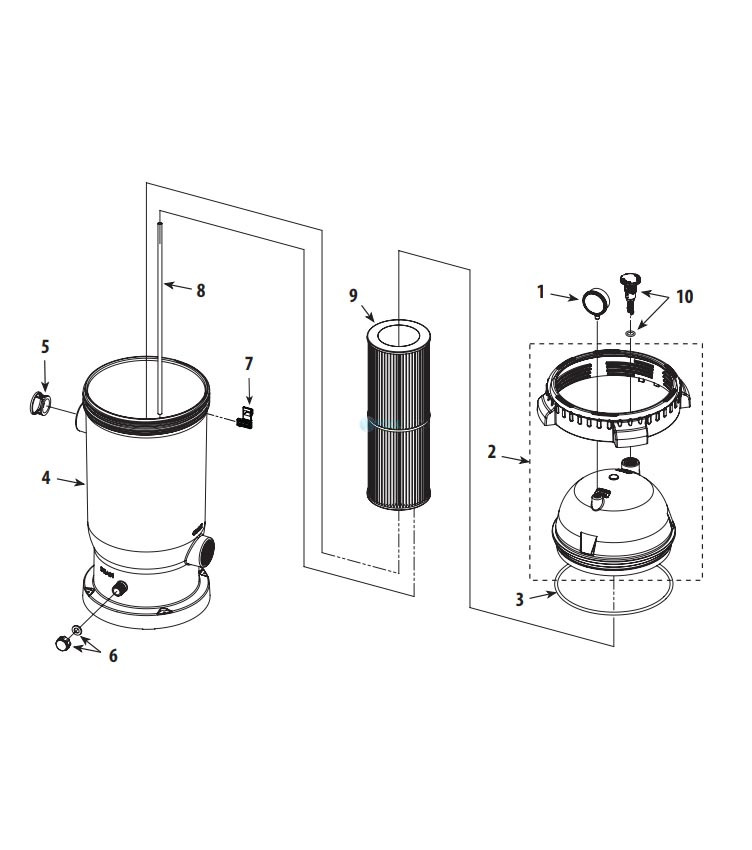 Waterway ProClean Plus Single Cartridge Filter   125 Sq. Ft. 125 GPM   PCCF-125 Parts Schematic