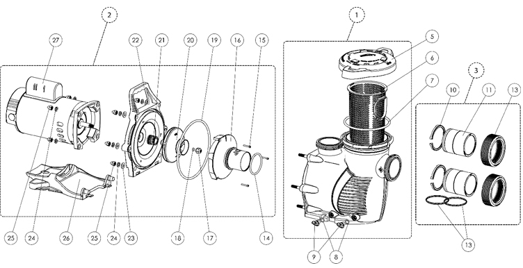 Pentair WhisperFlo XF Energy Efficient Pool Pump | 208/230V 3HP | XFE-12 | 022010 Parts Schematic