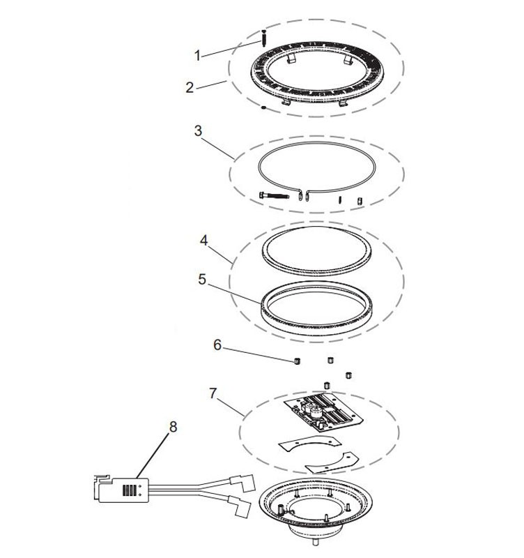 Pentair Intellibrite 5G WHITE Pool Light for Inground Pools | 120V LED 400W 100' Cord | 601202 Parts Schematic