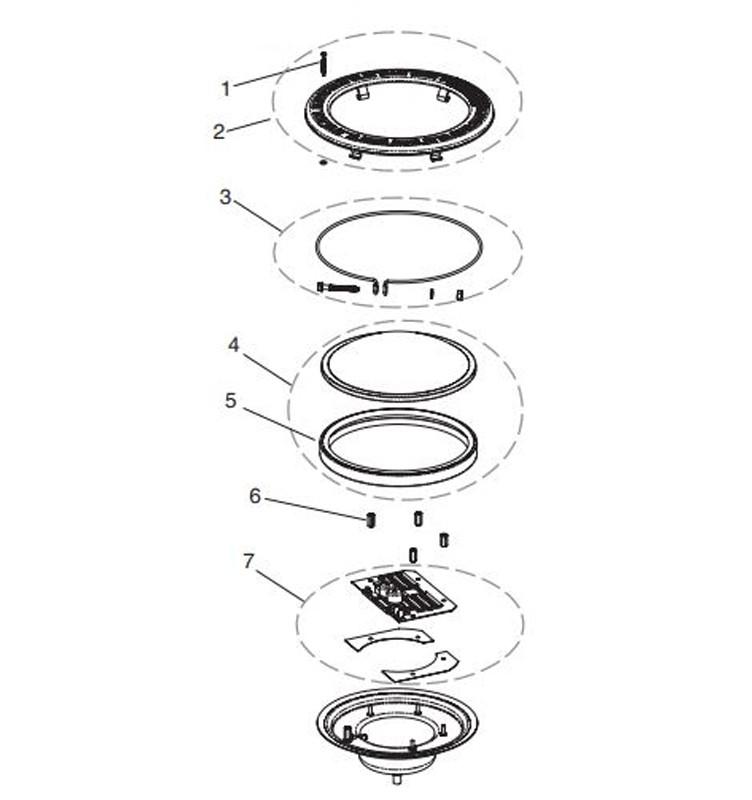 Pentair Intellibrite 5G WHITE Spa Light | 12V LED 100W 30' Cord | 640081 640150 Parts Schematic