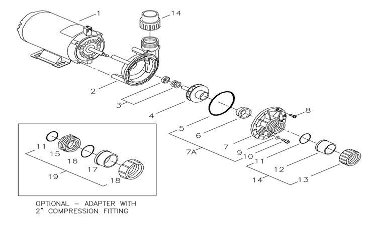 Aqua-Flo Circ-Master CMHP   1 Speed 1/15 HP 115V Offset Discharge   02093000-2010 Parts Schematic