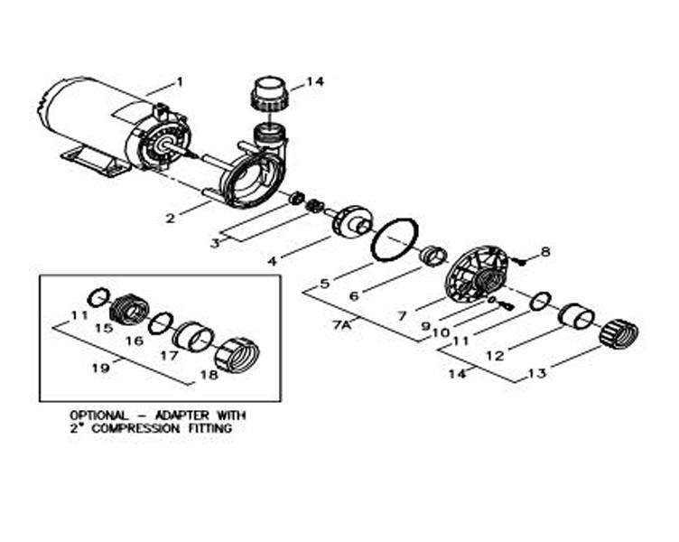 Aqua-Flo Circ-Master CMCP   1 Speed .06 HP 115V Center Discharge   02593000-2010 Parts Schematic