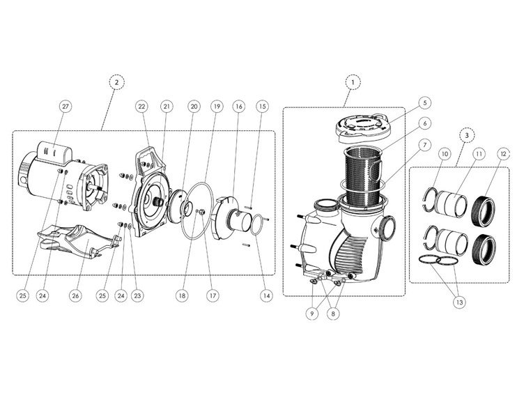 Pentair WhisperFlo XF Energy Efficient Pool Pump | 2 Speed | 208/230V 3HP | XFDS-12 | 022008 Parts Schematic