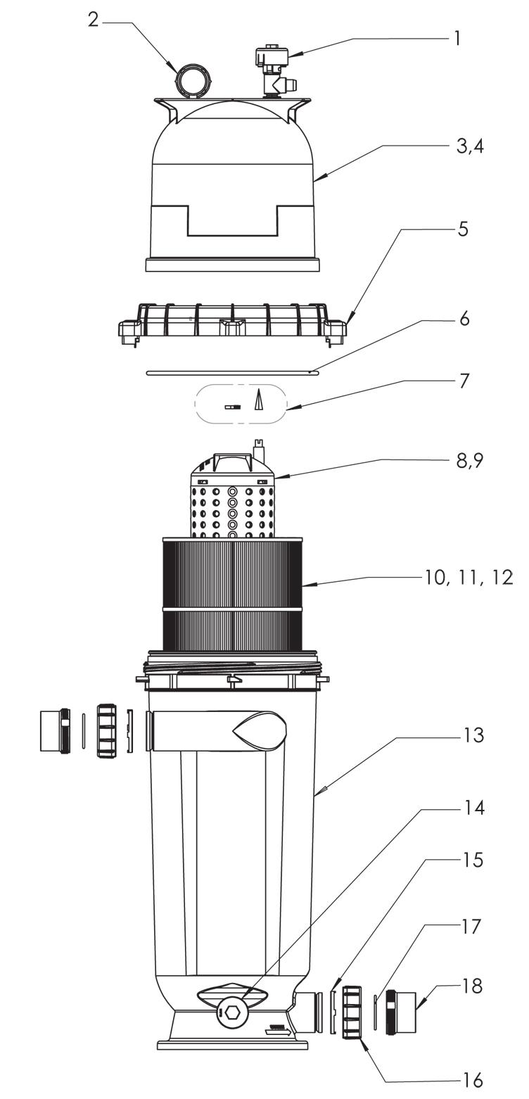 Pentair Clean & Clear RP Cartridge Filter   200 Sq. Ft.   EC-160353 Parts Schematic