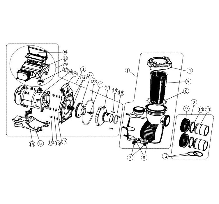 Sta-Rite IntelliProXF Variable Speed Pool Pump   023005 Parts Schematic