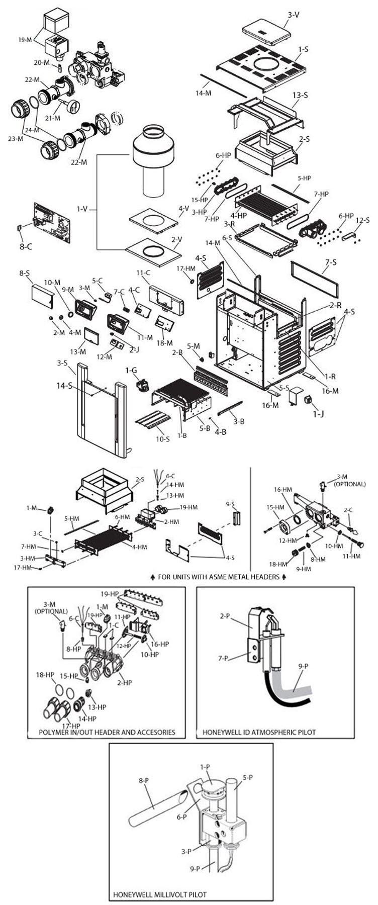 RayPak Digital Natural Gas Pool Heater 399k BTU | Electronic Ignition | Hight Altitude #52 6000-9000 Feet | P-M406A-EN-C 009973 P-R406A-EN-C 009849 Parts Schematic