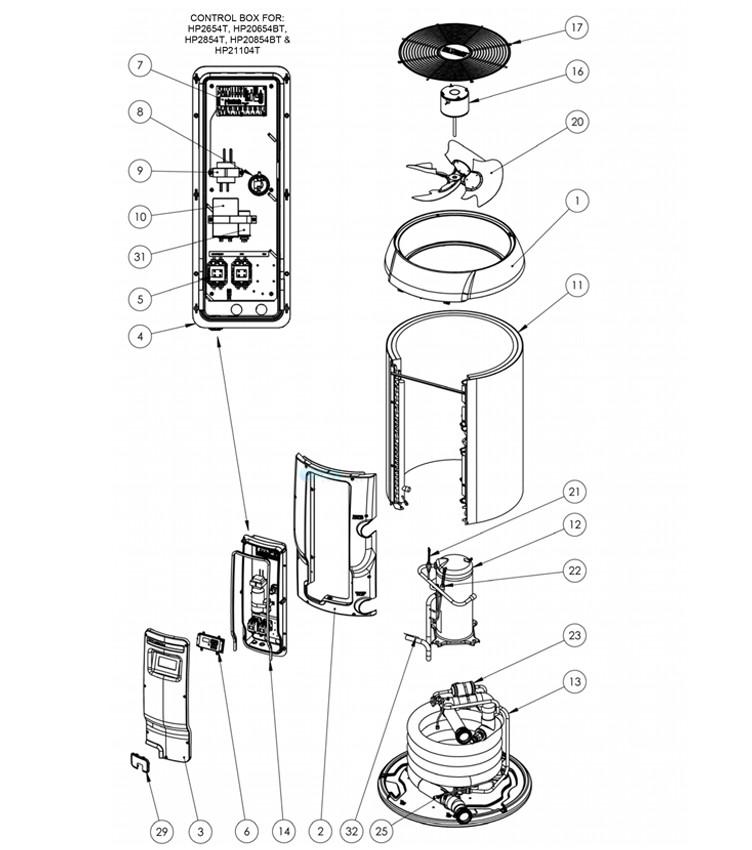 Hayward HeatPro Heat Pump   95K BTU   Square Platform   W3HP21004T Parts Schematic