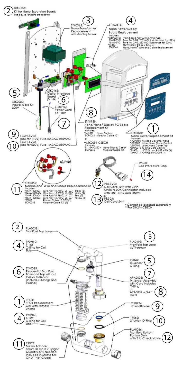 Autopilot Pool Pilot Digital Nano | 115V with 94105 Manifold, RC-35-22 | Up to 20,000 Gallons | DN1 Parts Schematic