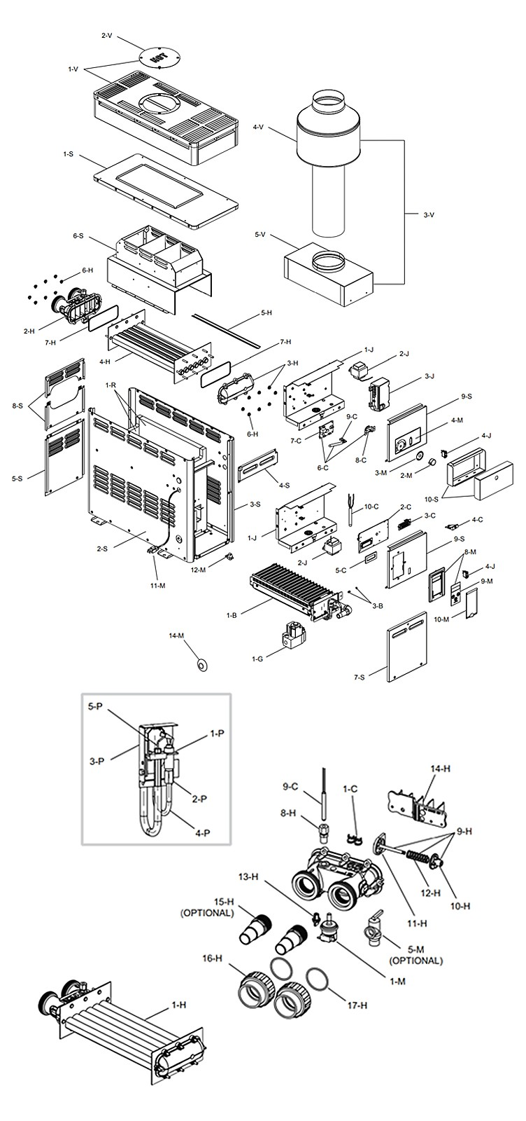 Raypak 156A Above Ground Pool and Spa Heater | Digital Controls Electronic Ignition | Natural Gas 150K BTU | P-M156A-EN-C 014802 P-R156A-EN-C 014784 Parts Schematic