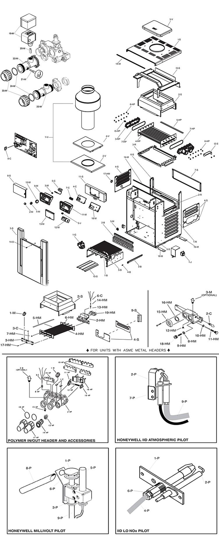 Raypak Digital Natural Gas Pool Heater 180K BTU Electronic Ignition Cupro Nickel Heat Exchanger P-R206A-EN-X #50 014938 P-M206A-EN-X #51 014966 Parts Schematic