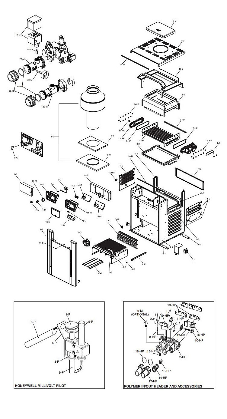 Raypak Digital Propane Gas Pool Heater 240K BTU | Electronic Ignition | Cupro Nickel Heat Exchanger | P-R266A-EP-X #57 014951 P-M266A-EP-X #58 014979 015007 Parts Schematic