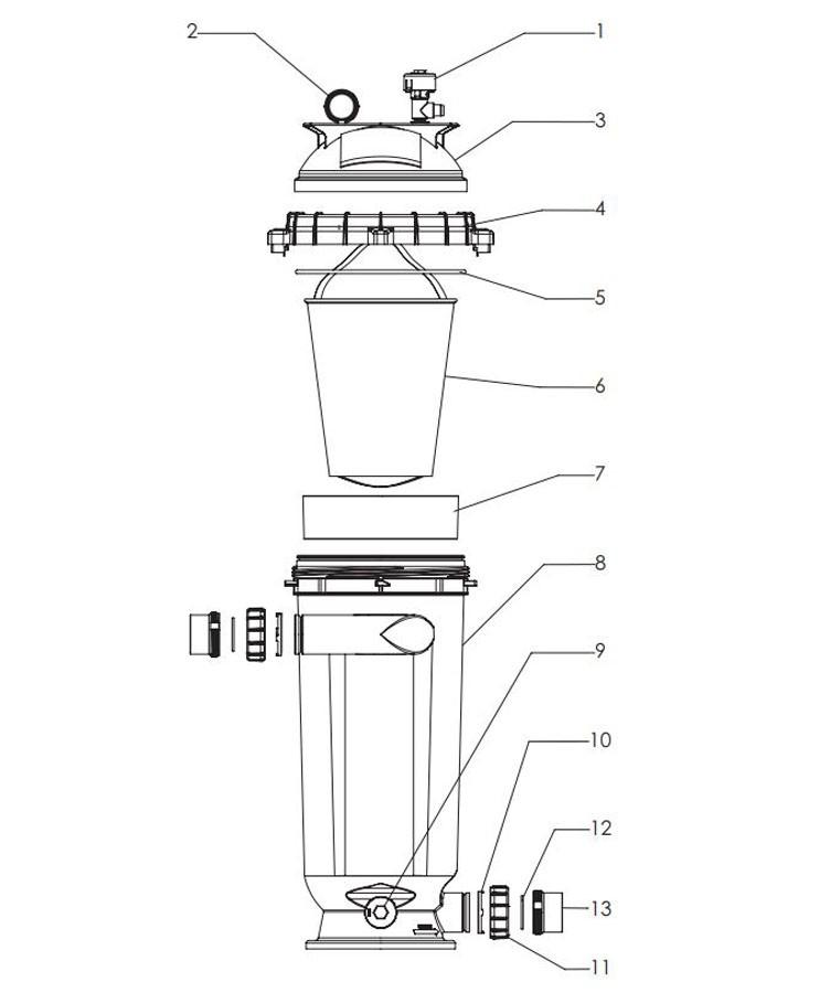Pentair D.E. Separation Tank 100 | 300005 Parts Schematic