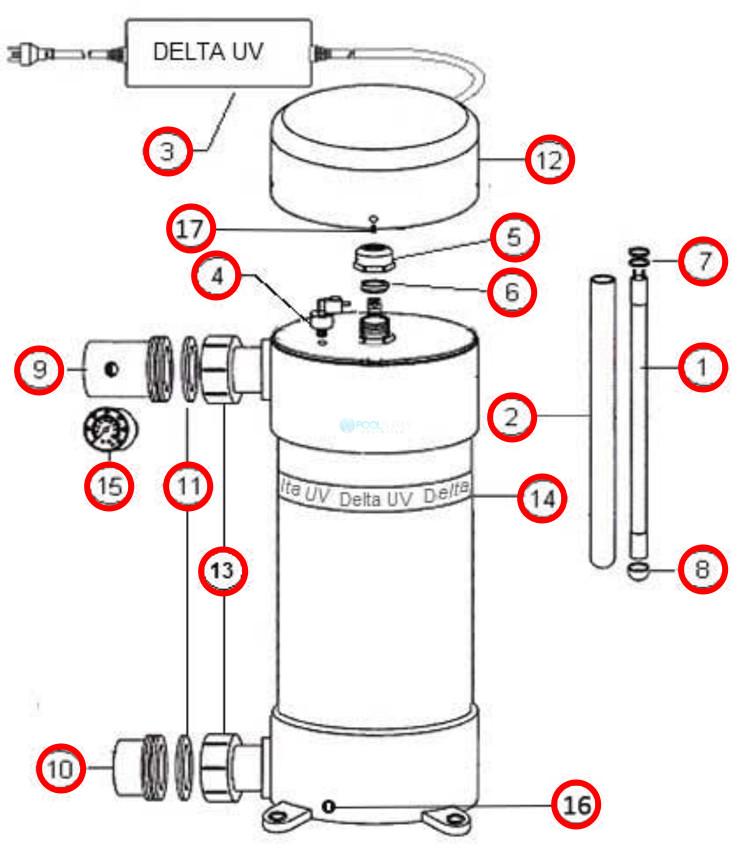 Delta Ultraviolet UV Sanitizer D Series   D-57   34-08579 37-08579 Parts Schematic
