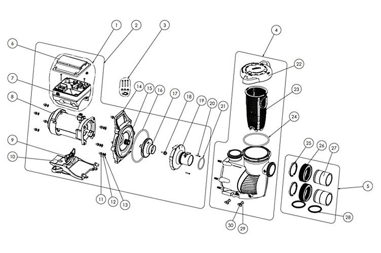 Pentair IntelliFloXF Variable Speed Pump 3HP Max | Rotary Keypad Control | EC-022055 Parts Schematic