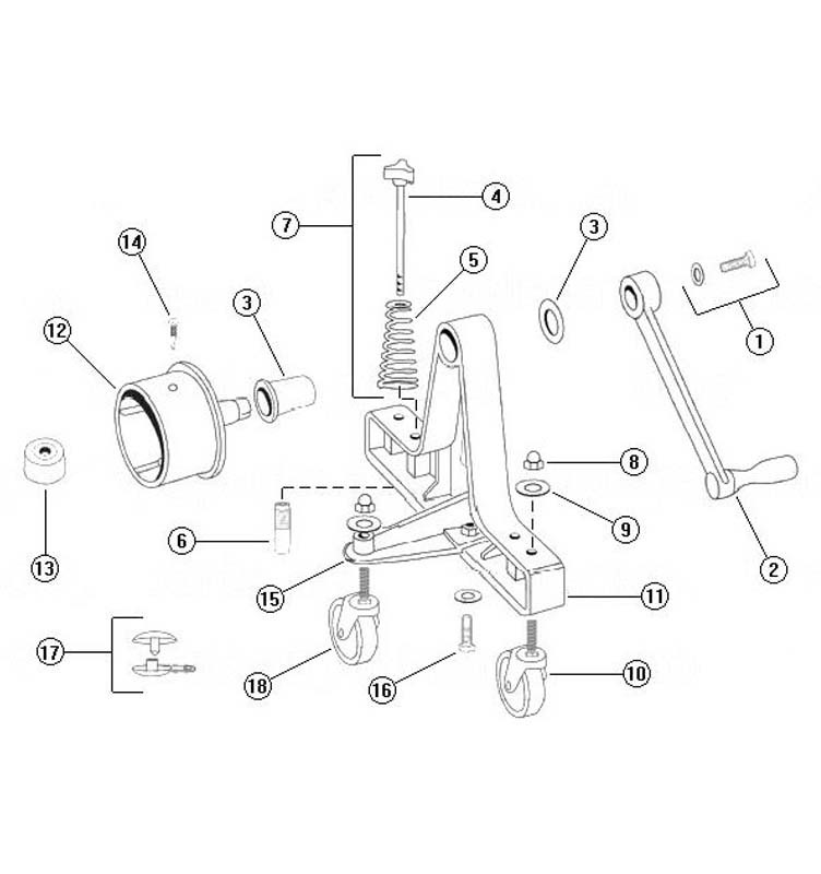 Rocky's Reel Systems Junior Commercial Reel System | End System Only | 319 Parts Schematic