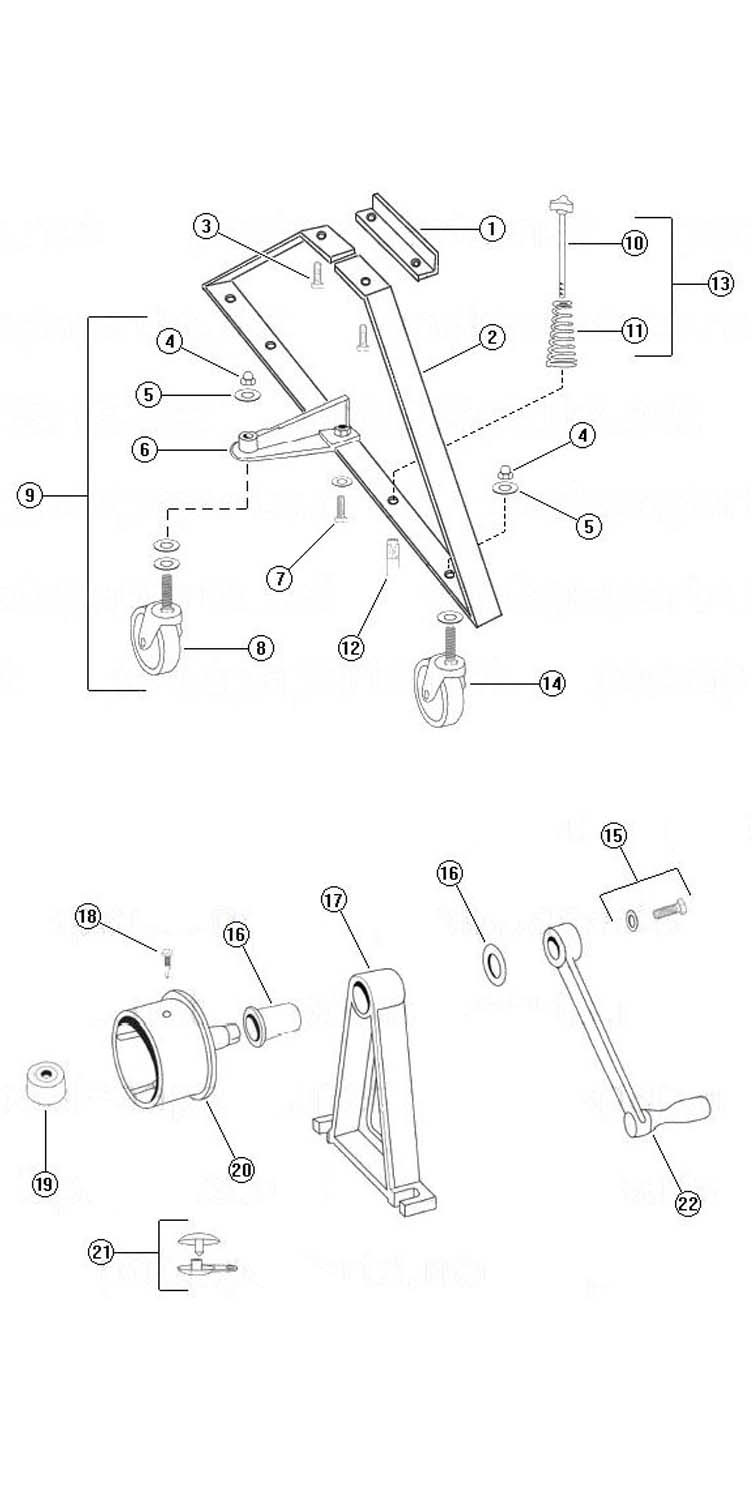 Rocky's Reel Systems High Riser Commercial Reel System   End System Only   331 Parts Schematic