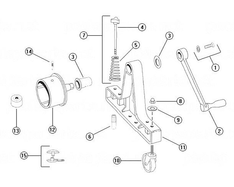 """Rocky's Reel Systems #3 Portable Residential Reel System   End System Only With 4"""" Hubs   305 Parts Schematic"""