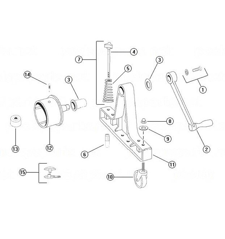 """Rocky's Reel Systems #5 Portable Residential Reel System   End System Only With 4"""" Hubs   315 Parts Schematic"""