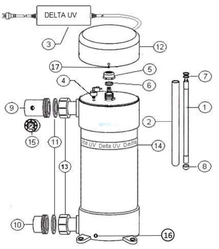 Delta Ultraviolet UV Sanitizer E Series | E-80 | 80 GPM | Plastic | 35-08544 38-08544 Parts Schematic