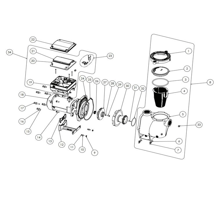 Pentair IntelliFlo i1 Variable Speed Pump VS+ 1HP | Time Clock Included | 011059 Parts Schematic
