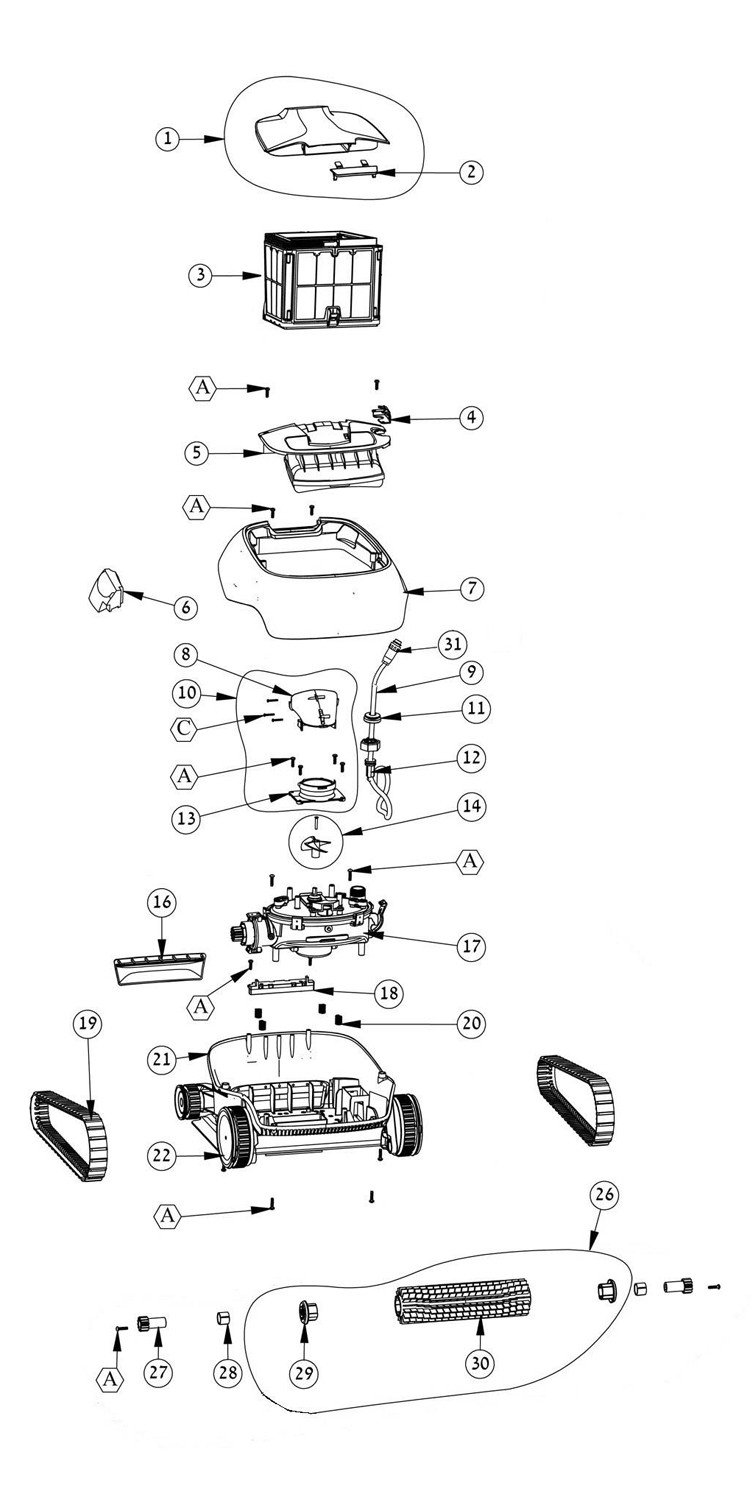 Maytronics Dolphin Nautilus CC Inground Robotic Pool Cleaner with CleverClean | 99996113-US Parts Schematic