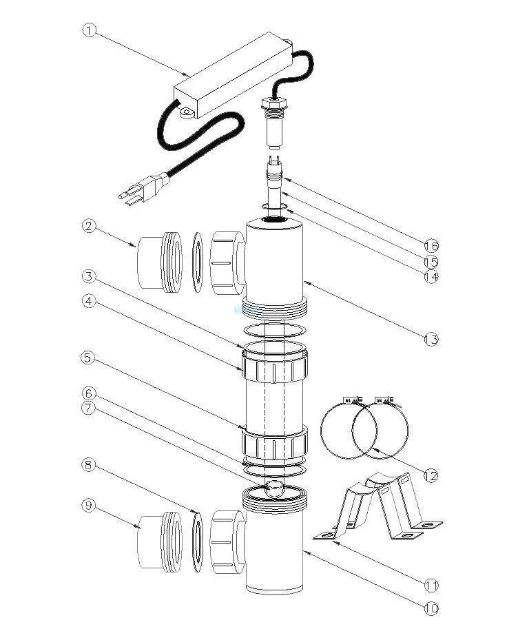 "Delta Ultraviolet EA-4H-40 Delta UV 120V Sanitizer 2"" 47GPM Max   PVC Version   35-09456 Parts Schematic"