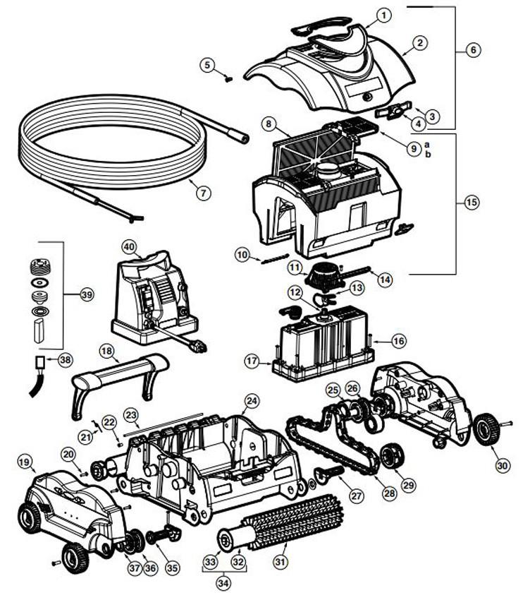 Hayward SharkVac Robotic Pool Cleaner   50' Cord   W3RC9740CUB Parts Schematic