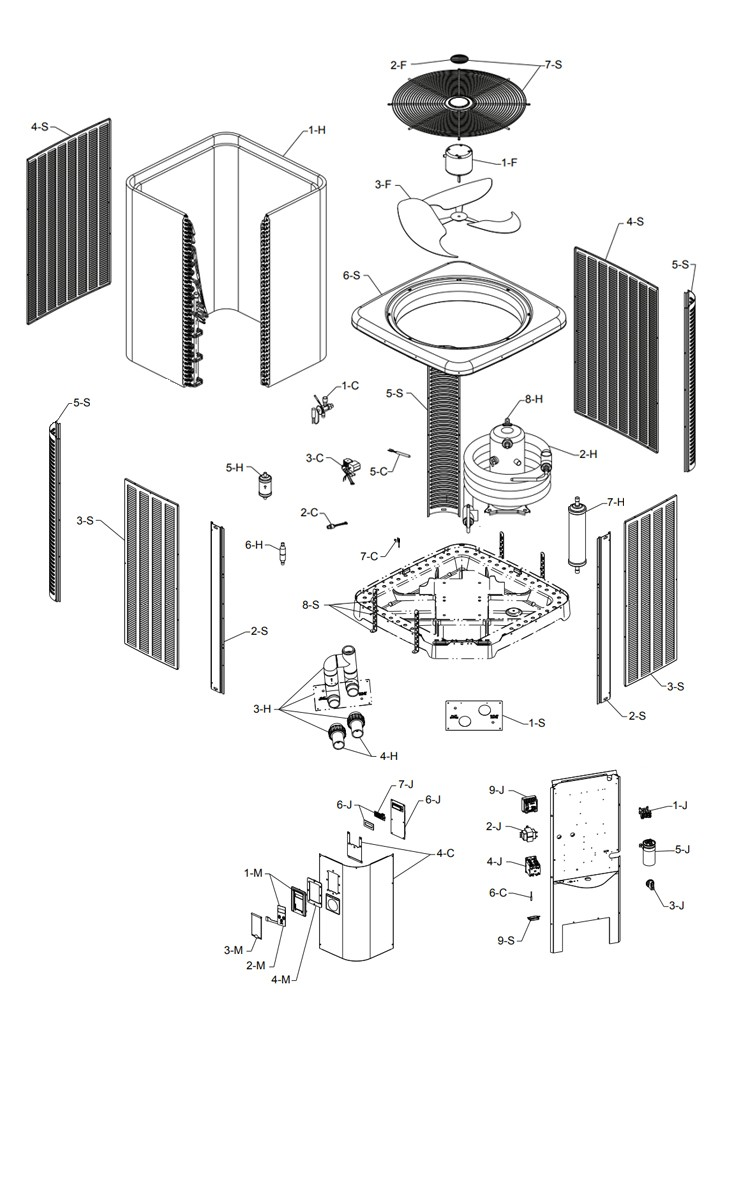 Raypak Heat Pump 5450 Model 103K BTU | Titanium Heat Exchanger | Digital Controls | M5450ti-E 016012 R5450ti-E 016010 Parts Schematic