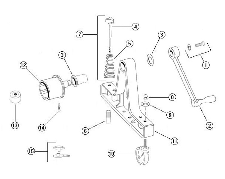 Rocky's Reel Systems #3A Clear Coat Portable Residential Reel System   End System Only   307CC Parts Schematic