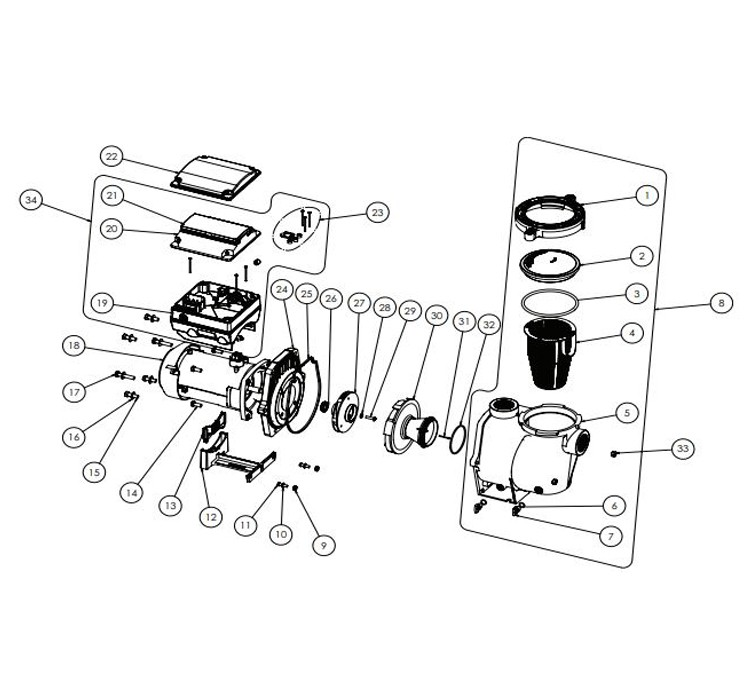 Pentair IntelliFlo Variable Speed High Performance Pool Pump with Digital Time Clock | 3HP Max | EC-011028 Parts Schematic